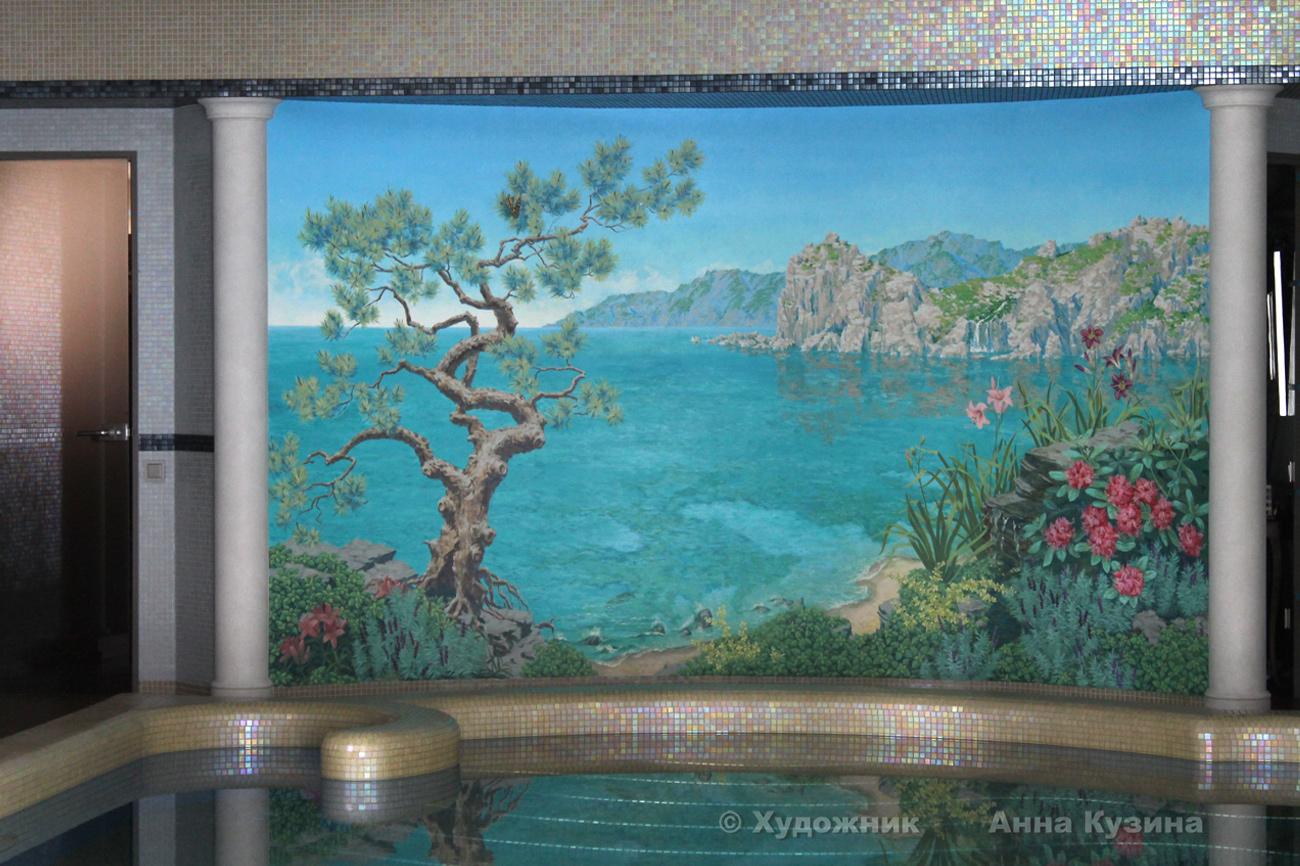Роспись стен бассейна в частном доме морской берег: студия