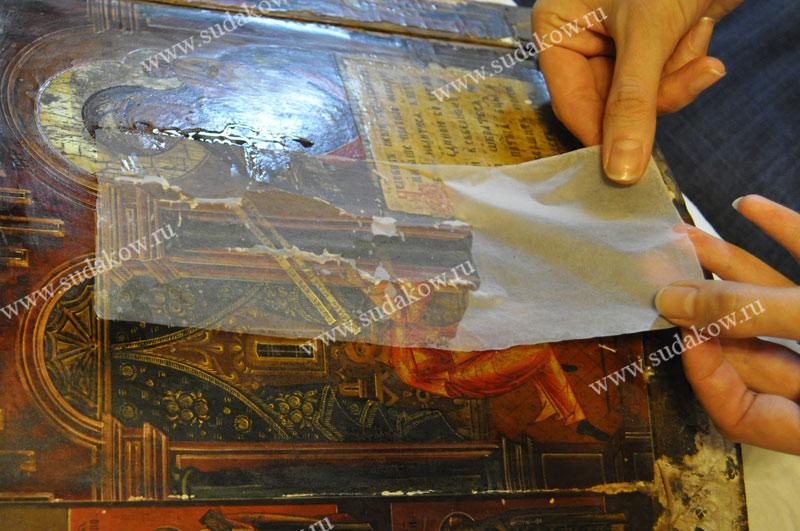 реставрация иконы трещины кракелюр