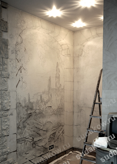 Работа по росписи стен