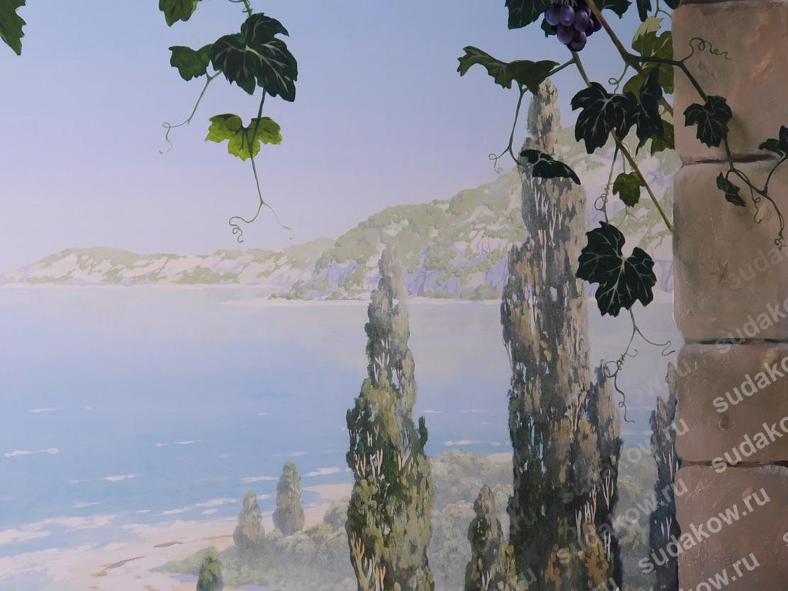 роспись стен море кипарисы