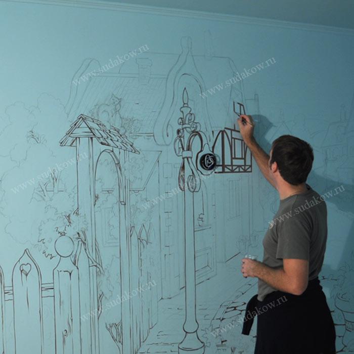 Процесс росписи стен
