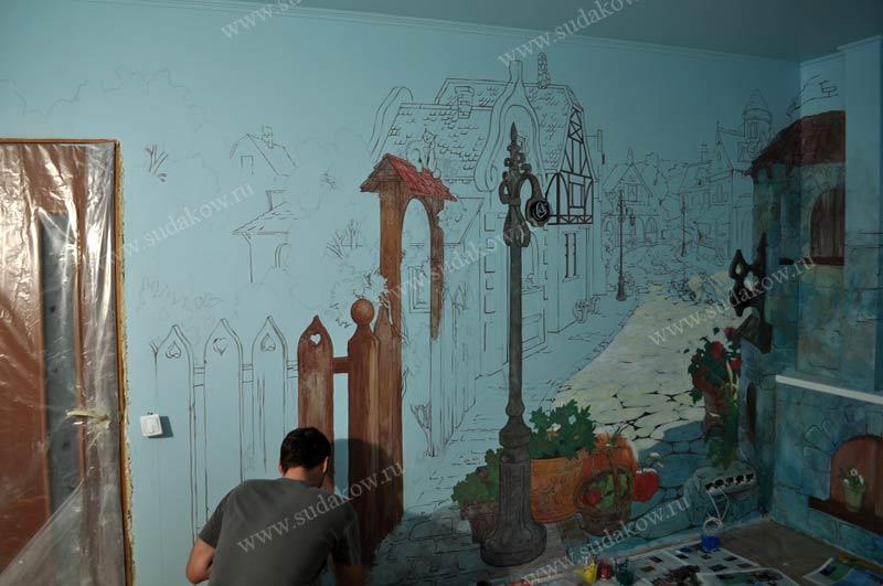 рисунок на стене красками