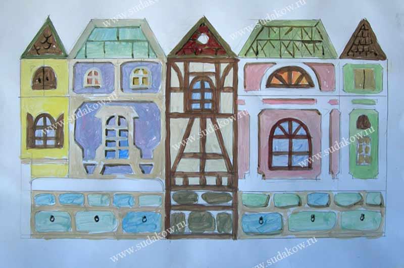эскиз для росписи детской мебели в виде домиков