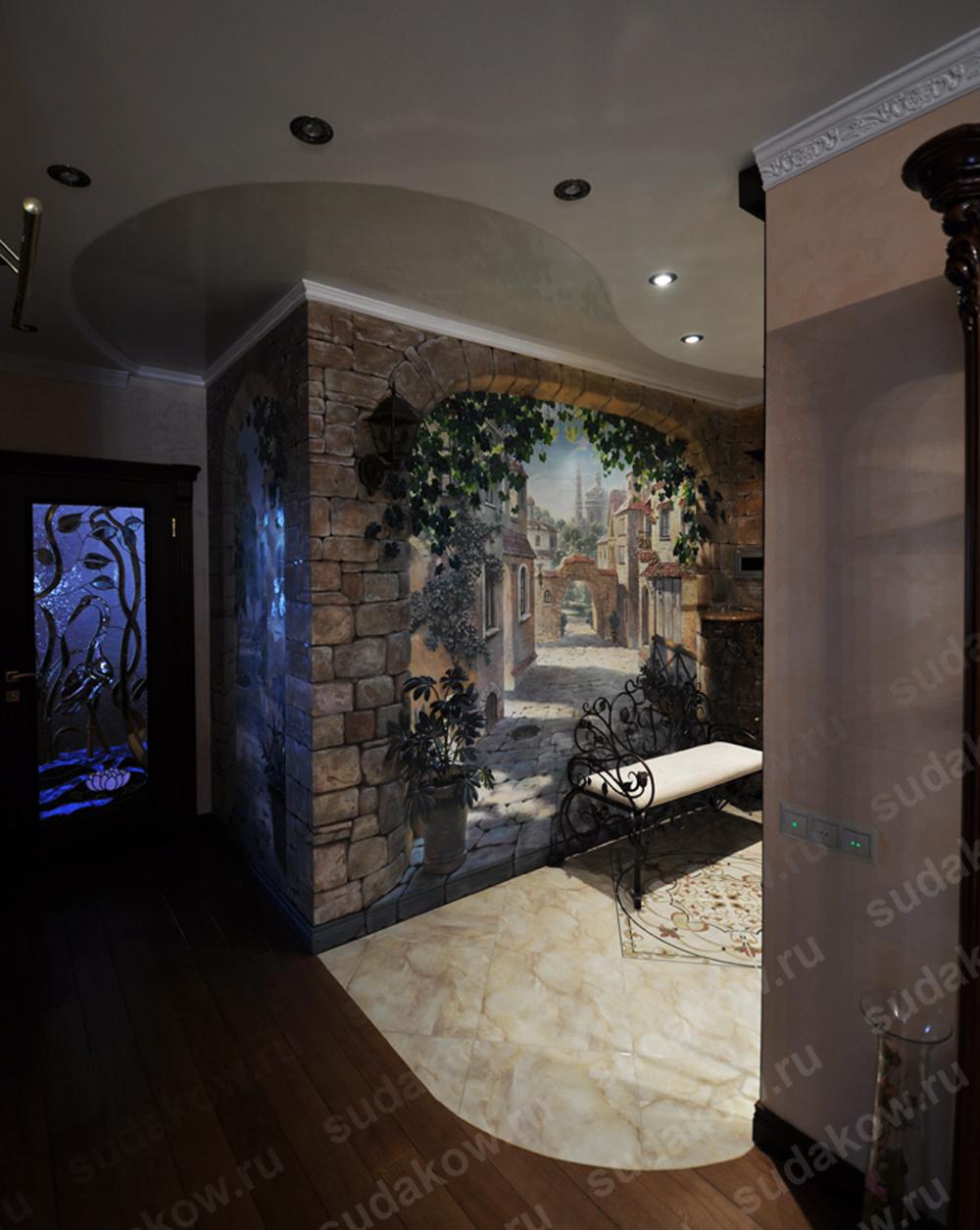 роспись стен обманка в коридоре