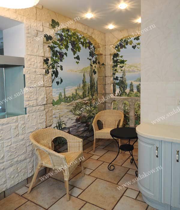 Настенная роспись обманка декор стен интерьера кухни.