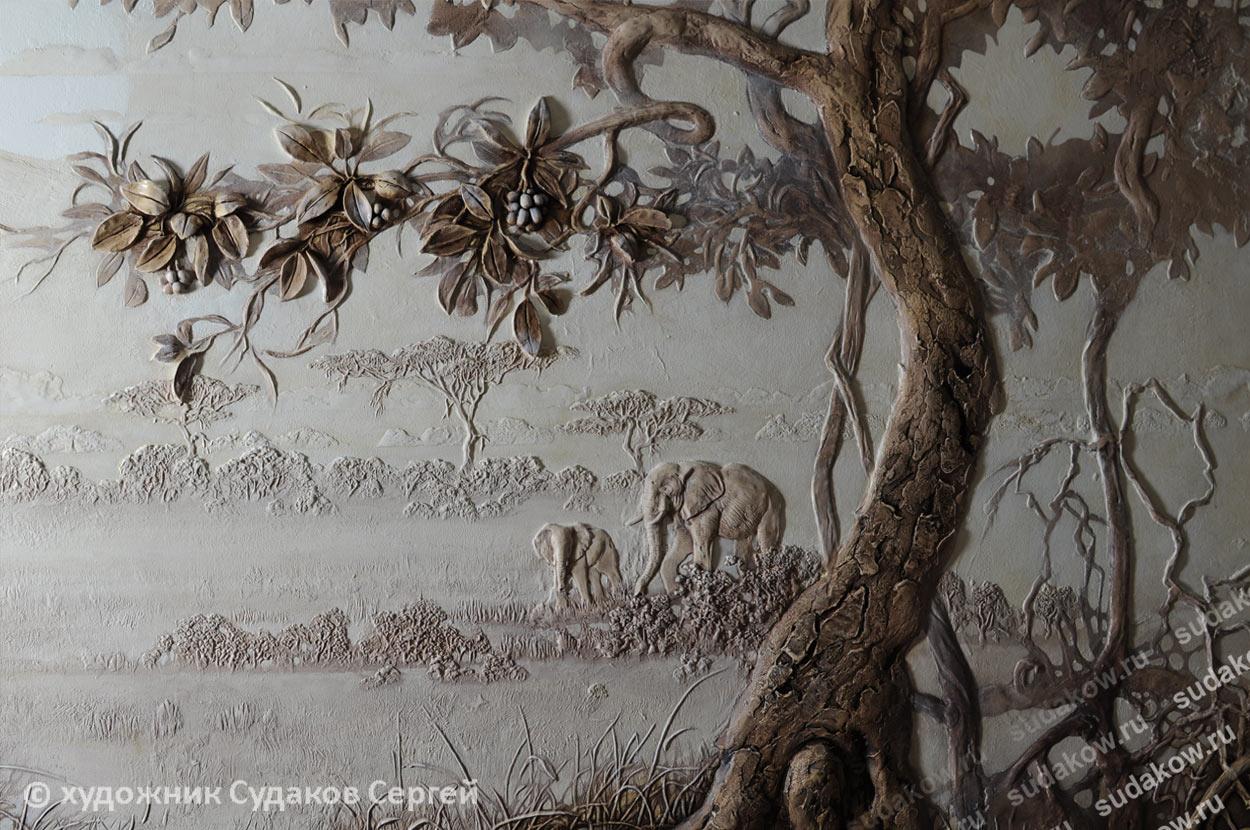 дерево рельеф