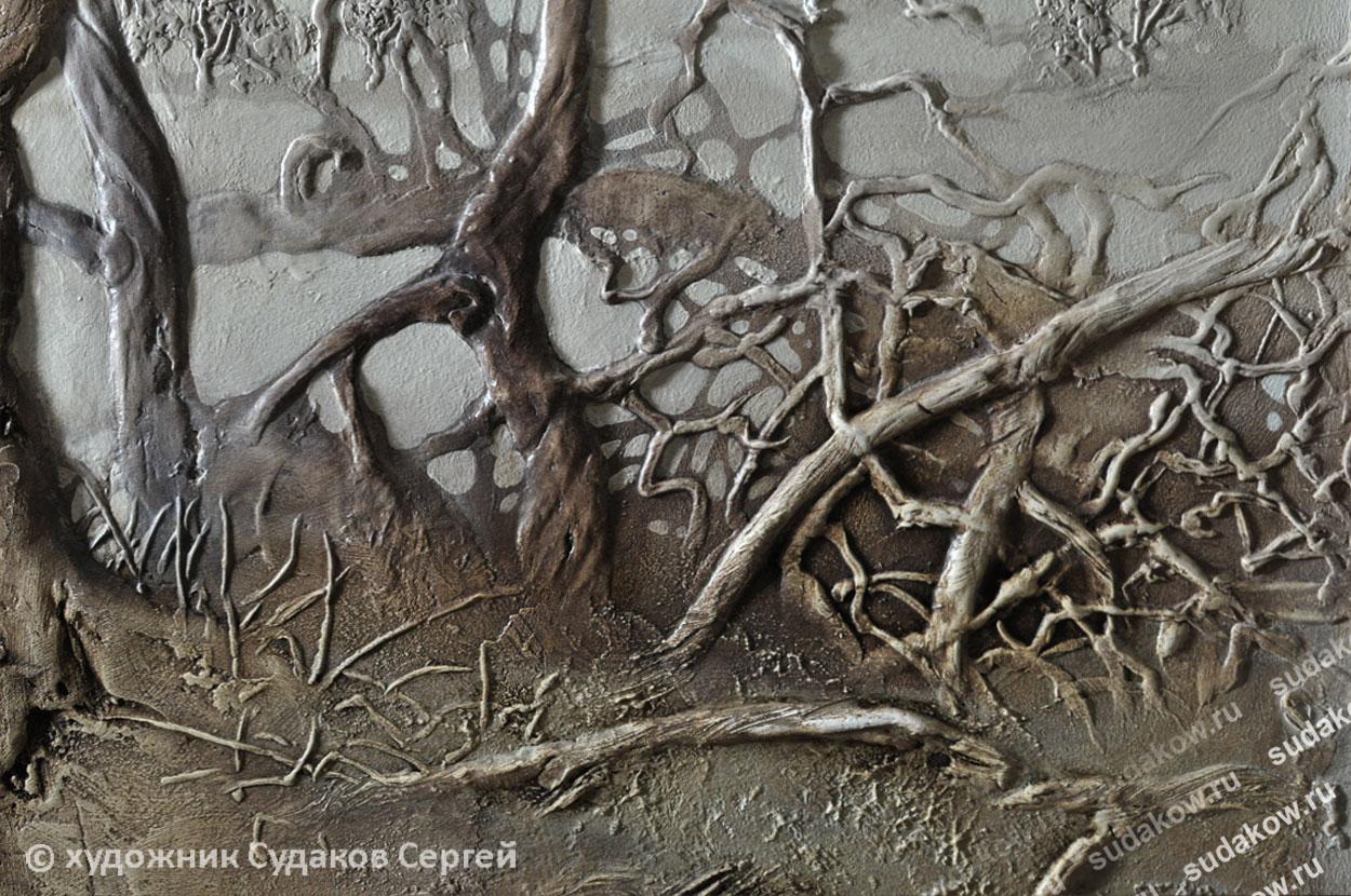 рельеф кусты ветки