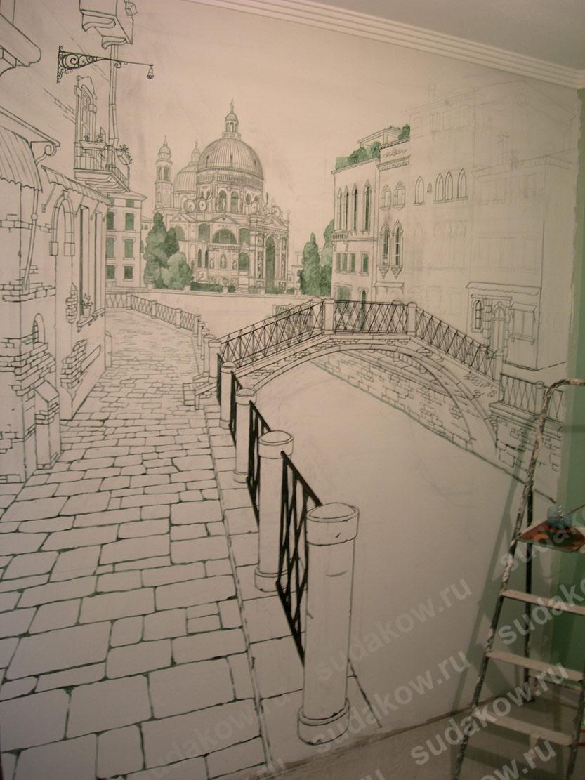 стене с на перспективой рисунки