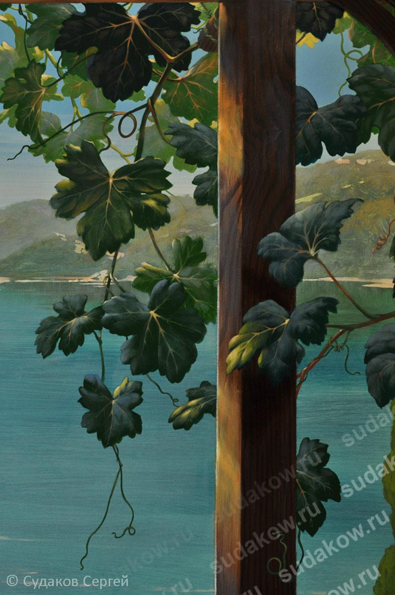 Нарисованные листья винограда