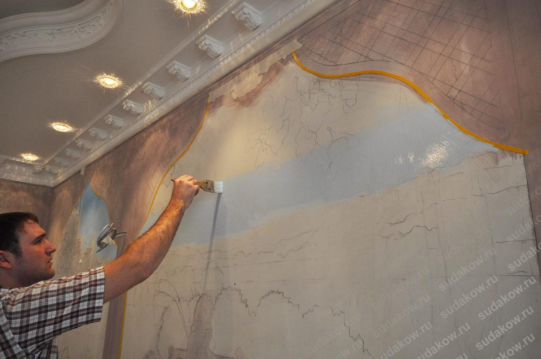 роспись стен растяжка акрилом