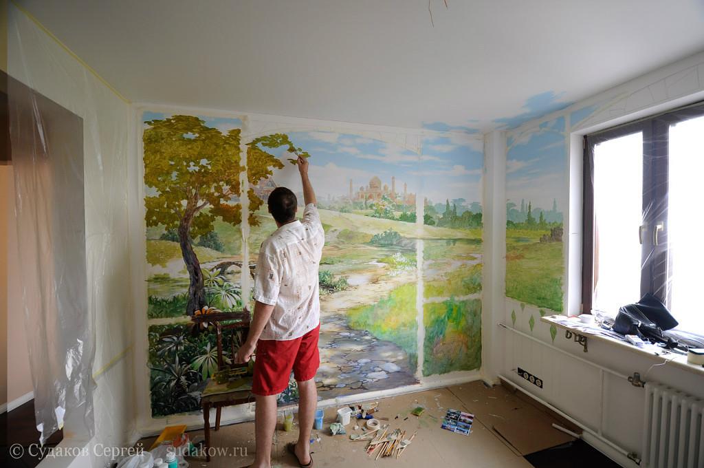 Роспись на стене поэтапно